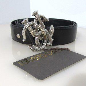 Roberto Cavalli Snake Buckle Silver Leather Belt